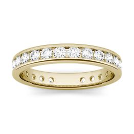 1.01 CTW DEW Round Forever One Moissanite Channel Set Eternity Band Ring 14K Yellow Gold