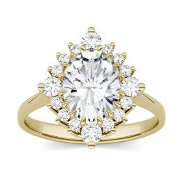 2.42 CTW DEW Oval Forever One Moissanite Halo Ring 14K Yellow Gold