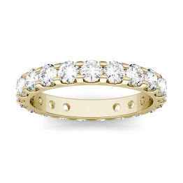 2.20 CTW DEW Round Forever One Moissanite Eternity Band Ring 14K Yellow Gold