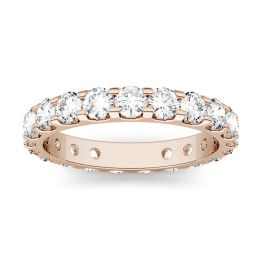 2.20 CTW DEW Round Forever One Moissanite Eternity Band Ring 14K Rose Gold