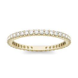 0.57 CTW DEW Round Forever One Moissanite Prong Set Eternity Band Ring 14K Yellow Gold