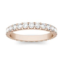 1.05 CTW DEW Round Forever One Moissanite Shared Prong Set Eternity Band Ring 14K Rose Gold