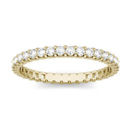 0.66 CTW DEW Round Forever One Moissanite Shared Prong Eternity Band Ring 14K Yellow Gold