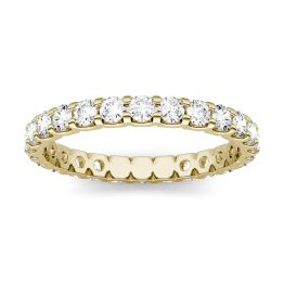 1.05 CTW DEW Round Forever One Moissanite Eternity Shared Prong Set Band Ring 14K Yellow Gold