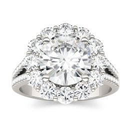 4.22 CTW DEW Round Forever One Moissanite Split Shank Halo Engagement Ring 14K White Gold