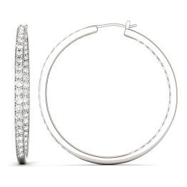 2.34 CTW DEW Round Forever One Moissanite Slim Hoop Earrings 14K White Gold
