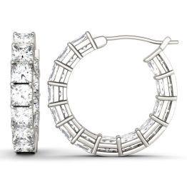 4.68 CTW DEW Square Forever One Moissanite Shared Prong Hoop Earrings 14K White Gold