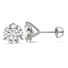 5.40 CTW DEW Round Forever One Moissanite Three Prong Martini Solitaire Stud Earrings 14K White Gold