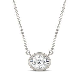 1.50 CTW DEW Oval Forever One Moissanite East-West Bezel Necklace 14K White Gold