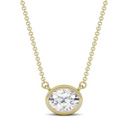 1.50 CTW DEW Oval Forever One Moissanite East-West Bezel Necklace 14K Yellow Gold