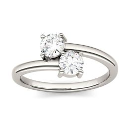 0.66 CTW DEW Round Forever One Moissanite Two Stone Ring 14K White Gold