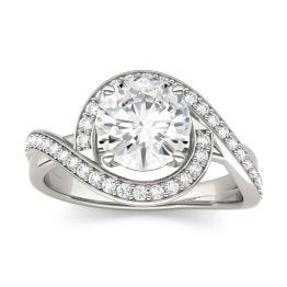 1.90 CTW DEW Round Forever One Moissanite Twist Halo Engagement Ring 14K White Gold