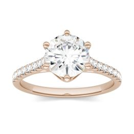 1.74 CTW DEW Round Forever One Moissanite Solitaire with Side Accents Ring 14K Rose Gold