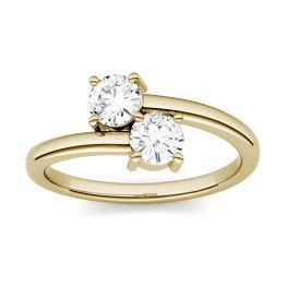 0.66 CTW DEW Round Forever One Moissanite Two Stone Ring 14K Yellow Gold