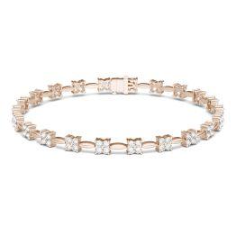 1.76 CTW DEW Round Forever One Moissanite Floral Tennis Bracelet 14K Rose Gold