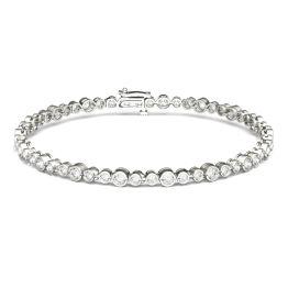 2.16 CTW DEW Round Forever One Moissanite Petite Multi Bezel Fashion Bracelet 14K White Gold