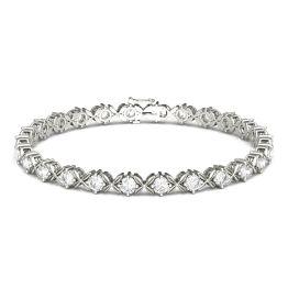 2.60 CTW DEW Round Forever One Moissanite Floral XO Tennis Bracelet 14K White Gold