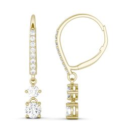 0.87 CTW DEW Round Forever One Moissanite Bridal Drop Earrings 14K Yellow Gold