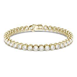 4.00 CTW DEW Round Forever One Moissanite Bezel Tennis Bracelet 14K Yellow Gold