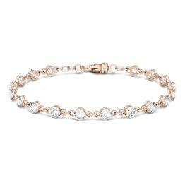4.14 CTW DEW Round Forever One Moissanite Link Bracelet 14K Rose Gold