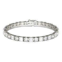 8.32 CTW DEW Straight Baguette Forever One Moissanite Tennis Bracelet 14K White Gold