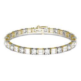 8.32 CTW DEW Straight Baguette Forever One Moissanite Tennis Bracelet 14K Two Tone Gold