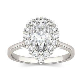 1.80 CTW DEW Pear Forever One Moissanite Halo Engagement Ring 14K White Gold