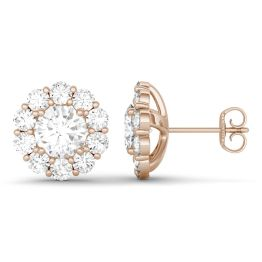 4.00 CTW DEW Round Forever One Moissanite Floral Halo Stud Earrings 14K Rose Gold