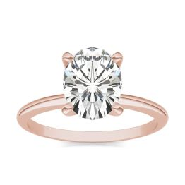 3.00 CTW DEW Oval Forever One Moissanite Solitaire Engagement Ring 14K Rose Gold