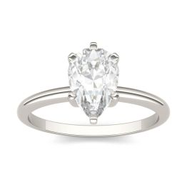 2.10 CTW DEW Pear Forever One Moissanite Solitaire Engagement Ring 14K White Gold