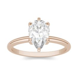 1.50 CTW DEW Pear Forever One Moissanite Solitaire Engagement Ring 14K Rose Gold