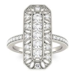0.85 CTW DEW Round Forever One Moissanite Vertical Art Deco Style Ring 14K White Gold