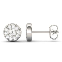 0.28 CTW DEW Round Forever One Moissanite Pave Disc Stud Earrings 14K White Gold