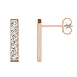 0.48 CTW DEW Round Forever One Moissanite Vertical Bar Stud Earrings 14K Rose Gold