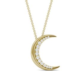0.19 CTW DEW Round Forever One Moissanite Moon Necklace 14K Yellow Gold