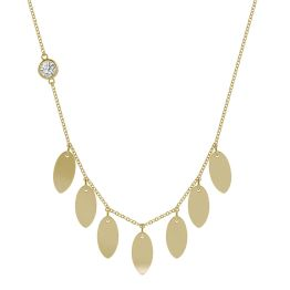 Navette Station Necklace 14K Yellow Gold
