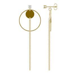 0.20 CTW DEW Round Forever One Moissanite Tassel Disc Drop Earrings 14K Yellow Gold