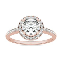 1.30 CTW DEW Round Forever One Moissanite Halo Engagement Ring 14K Rose Gold