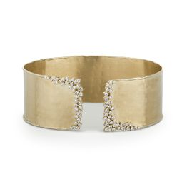 0.77 CTW DEW Round Forever One Moissanite Wide Accented Hammerd Cuff Bracelet 14K Yellow Gold