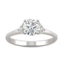 0.99 CTW DEW Round Forever One Moissanite Hearts & Arrows Round Three Stone Ring 14K White Gold