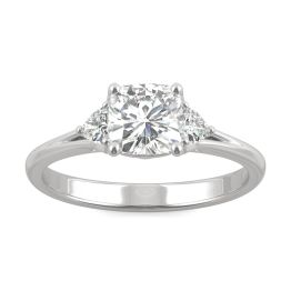 1.20 CTW DEW Cushion Forever One Moissanite Hearts & Arrows Cushion Three Stone Ring 14K White Gold