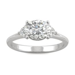 1.68 CTW DEW Oval Forever One Moissanite East-West Oval Three Stone Ring 14K White Gold