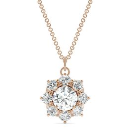 1.86 CTW DEW Round Forever One Moissanite Cluster Halo Necklace 14K Rose Gold