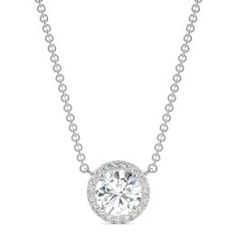 0.91 CTW DEW Round Forever One Moissanite Cluster Halo Necklace 14K White Gold