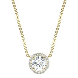 0.91 CTW DEW Round Forever One Moissanite Cluster Halo Necklace 14K Yellow Gold