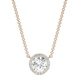 2.13 CTW DEW Round Forever One Moissanite Cluster Halo Necklace 14K Rose Gold