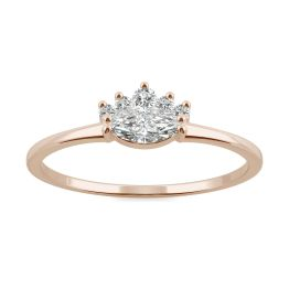 0.29 CTW DEW Marquise Forever One Moissanite Royal Ring 14K Rose Gold