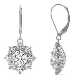 3.71 CTW DEW Round Forever One Moissanite Cluster Halo Earrings 14K White Gold