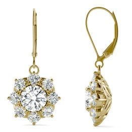 3.71 CTW DEW Round Forever One Moissanite Cluster Halo Earrings 14K Yellow Gold