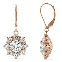 3.71 CTW DEW Round Forever One Moissanite Cluster Halo Earrings 14K Rose Gold